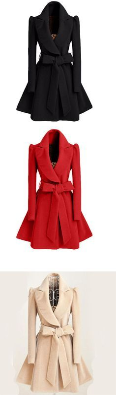 Women's Bow Going out / Casual/Daily Simple Coat