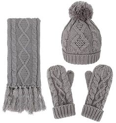 ANDORRA Women Soft Warm Thick Knitted Beanie Scarf & Gloves Winter Set,Grey. Eco-friendly natural fibers. Soft, warm, & cozy cable knit. Adorable fold-over pompom beanie. Fringed trim on scarf; thick cuff mittens. Winter set includes a fashionable, matching knit hat, scarf, & gloves that is perfect for guarding against the harsh cold seasons.