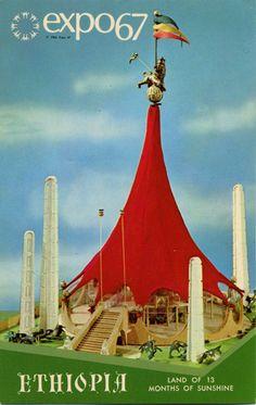 Le Pavillon de l'Éthiopie à l'Expo 67. Montréal, Québec.  Ethiopian pavilion, Expo 67