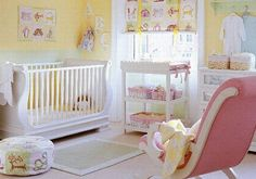 Yellow nursery with girlie touches. Could be made boy nursery easily with green (i'm not a huge blue fan).