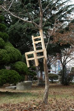 Myeombeom Kim. Surreal nature sculptures. chair and a tree