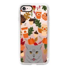British Shorthair grey cute cat meme cell phone case for autumn fall... ($40) ❤ liked on Polyvore featuring accessories, tech accessories, iphone case, apple iphone case, iphone cover case, cat iphone case, iphone hard case and iphone cases