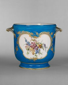 Vincennes Manufactory (French, ca. 1740–1756). Wine-bottle cooler (seau à bouteille), 1753. The Metropolitan Museum of Art, New York. Gift of Mr. and Mrs. Charles Wrightsman, 1970 (1970.230.4) | The vibrant turquoise ground (bleu céleste) was developed at Vincennes in 1753 and was immediately put to use in a table service for Louis XV.
