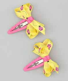 Take a look at this Yellow & Pink Ladybug Clip - Set of Two by Bubbly Bows on #zulily today!