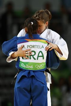 #RIO2016 Bernadette Graf of Austria embraces Maria Portela of Brazil after winning a Women's 70kg bout on Day 5 of the Rio 2016 Olympic Games at Carioca Arena...