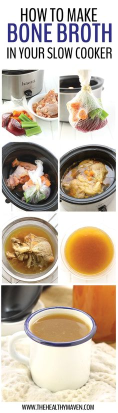 Learn how to make bone broth in your slow cooker, the hottest trend in the food world! It requires minimal ingredients and steps but a whole lot of patience as your house fills with the delicious scent of homemade broth. (food ingredients how to make) Crock Pot Recipes, Crock Pot Cooking, Slow Cooker Recipes, Paleo Recipes, Real Food Recipes, Soup Recipes, Cooking Recipes, Cooking Tofu, Cheese Recipes