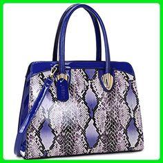 Dasein Women's Fashion Snake Print Top Zip Work Tote Satchel Handbags Shoulder Bag Purse 2 Snakeskin Print Royal Blue - Totes (*Amazon Partner-Link)