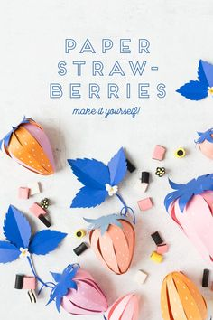 Paper strawberries! A fun summer look for you!