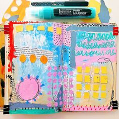 We are in the middle of a blessed beautiful day here in Madison WI. I love that hopeful feeling that comes with knowing that Spring is on… Art Journal Pages, Art Journals, Visual Journals, Journal Ideas, Sketchbook Inspiration, Art Sketchbook, Liquitex Paint Marker, Moleskine, Collages