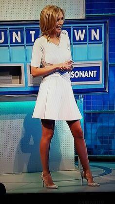 Rachel Riley in white dress and wearing red pantyhose Lovely Legs, Great Legs, Nice Legs, Rachel Riley Legs, Jennifer Aniston Dress, Racheal Riley, Red Pantyhose, Tv Girls, Hot High Heels