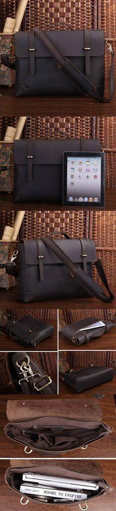 Leather 13″ 15″ MacBook Bag Handmade Crazy Horse Leather Briefcase Messenger Bag 13″ 14″ Laptop Bag Leather Messenger Bag