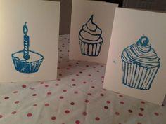 Lino print cupcake greetings card, birthday, anniversary, congratulations, blank inside