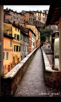 Ancient road in Perugia - Umbria, Italy.
