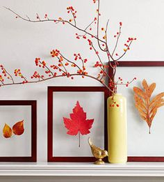 Leaf Art and Fall Berry display. Dip the leaves in wax before mounting to preserve color?