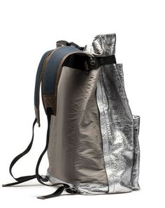 silver backpack side and strap details
