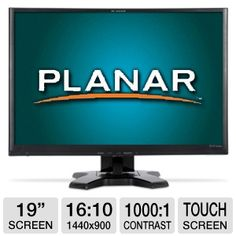"Explore the large screen of the Planar 19"" Class Resistive Touchscreen LCD Monitor with your fingertips and experience the latest trend in visual   technology. Have fun navigating the 1440 x 900 resolution of the screen and eliminate the scrolling and clicking those non-touch panel monitors offer. Get indulged by its 16:9 widescreen capability that supports 16.7 million display colors."