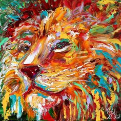 Abstract impressionism LION ANIMAL PORTRAIT painting Original Oil impasto palette knife modern fine art by Karen Tarlton. $135.00, via Etsy.