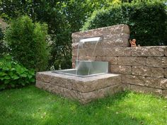 Individuell gefertigte R… Waterfall fountain for the garden, pool – the pond. Individually made back panels and cymbals can be ordered. Garden Shower, Garden Pool, Glass Garden, Garden Water, Waterfall Fountain, Pool Waterfall, Garden Fountains, Fountain Garden, Modern Fountain