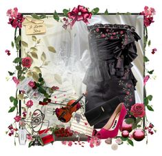 """""""Little black dress with little red roses"""" by andra-pop ❤ liked on Polyvore featuring art"""