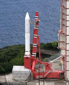 Japonská raketa Epsilon-1 na startovním komplexu kosmodromu Uchinoura Space Center. Foto: Zdroj JAXA