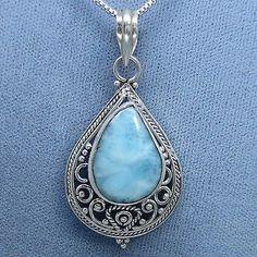 Larimar Filigree Necklace - Sterling Silver - Hand Made