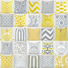 Yellow and Gray Pillow Covers  18x18  by DeliciousPillows on Etsy
