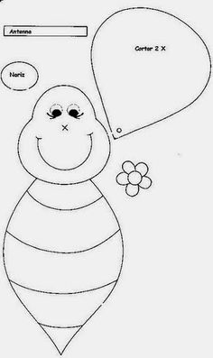 Eu Amo Artesanato: Abelhinha em feltro Flower Crafts Kids, Bee Crafts, Crafts For Kids, Felt Patterns, Craft Patterns, Embroidery Patterns, Primitive Doll Patterns, Bee Party, Mother's Day Diy