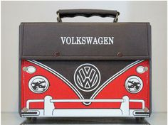 Pu Leather Trim Antique Vintage Bag Volkswagen Bus Style with Cross Strap