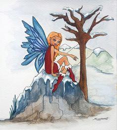 Annabelle the Winter Fairy Watercolour on Card