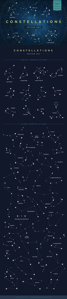 Aw. I got my constellation name.   Constellations Vector Set by skyboxcreative #Illustration #Constellation
