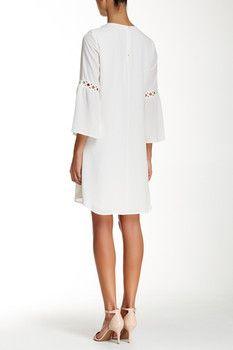 Daniel Rainn Bell Sleeve Crochet Inset Shift Dress