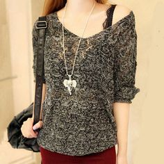 Material: Polyester,Nylon,Spandex,Acrylic Material Composition: Acrylic Style: Casual Technics: Crocheted Collar: V-Neck Sleeve Length: Three Quarter Clothing Length: Regular Item Type: Pullovers Slee