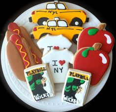Decorated New York City Cookies I Heart NYC by peapodscookies