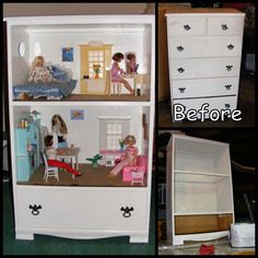 DIY Barbie Doll House From A Dresser  Barbie Storage Built In! Wish I wouldn't have just spent 50 dollars on my little sisters barbies house lol