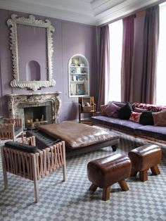 Purple Living Room In A Brussels Apartment With Lavender Walls, Grey And  White Checkerboard Floor Part 61