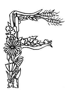 Coloriage alphabet fleurs f sur Hugolescargot.com - Hugolescargot.com