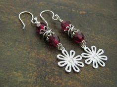 Flower Earrings Sterling Silver Red by ThePrivateCollection, $29.00