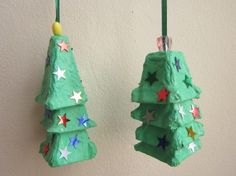 Egg carton christmas trees - cute create-a-craft, could add a tiny jingle bell to one layer to make a cute bell ornament too