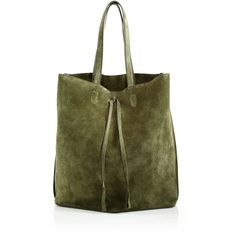 Maison Margiela Suede Tote (2,077 CAD) ❤ liked on Polyvore featuring bags, handbags, tote bags, apparel & accessories, olive, suede purse, maison margiela, olive green handbag, suede tote handbag and green tote handbag