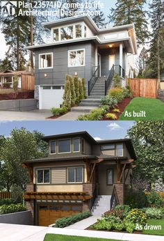 Architectural Designs House Plan 23574JD as built and as drawn. We love seeing our homes built. And we have lots of photos of this one. It gives you over 3,000 square feet of living spread across 3 levels. Ready when you are. Where do YOU want to build?