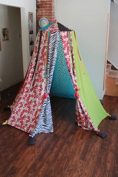 handmade hula hoop tent with ribbons made from upcycled and new fabrics zebra floral blue polka dot eco friendly on Etsy, $150.64