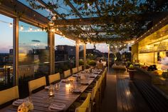 Where? The Boundary. East. Just off Liverpool St.  Why?  Roof terrace that'll knock your socks off. Exceptionally good food, great drinks, fairy lights, fragrant herb garden. Book dinner in the restaurant and start with drinks and nibbles outside. You'll love it.  Also bookable for private events, which would be rather dreamy.  Wear?  Smart casual.  Website. (Priority is given to hotel guests and dinner bookings, so worth giving them a buzz.)