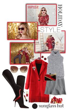 """""""Celebrate in Every Shade with Sunglass Hut: Contest Entry"""" by shortyluv718 ❤ liked on Polyvore featuring Lauren Ralph Lauren, Dolce&Gabbana, Christian Louboutin, J.Crew, Vika Gazinskaya, Edie Parker, Natures Jewelry and Lancôme"""