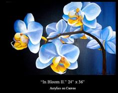 Blue Orchid Acrylic Painting  AVAILABLE Custom Art By Alexis