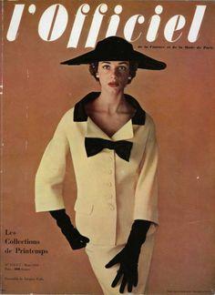 Original vintage published in 1953 Jacques Fath Tailleur, Philippe Pottier — , Dressmakers Jacques Fath, Fifties Fashion, Retro Fashion, Classic Fashion, High Fashion, Women's Fashion, Guy Laroche, Vintage Dresses, Vintage Outfits