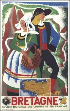 An poster sized print, approx (other products available) - SNCF poster, Bretagne, by Roland Goujon. Depicting a Breton couple of Northern France. Date: 1939 - Image supplied by Mary Evans Prints Online - Poster printed in the USA Vintage Advertisements, Vintage Ads, Celtic Nations, Tourism Poster, Brittany France, Railway Posters, Travel Images, Travel Photos, Vintage Travel Posters