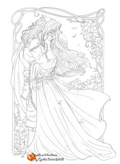 For a time, my drawings will be much inspired by medieval desing ( for clothes ) They will be used mainly for my 2009 calendars and gift cards, sold at Un Monde Fantastique. ^_^ This is another dra. Fairy Coloring Pages, Coloring Book Art, Coloring Pages To Print, Printable Coloring Pages, Adult Coloring Pages, Coloring Sheets, Colorful Pictures, Sketches, Drawings