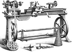 """Britannia Lathes 14, 15 & 16  Britannia No. 14  3.5-inch centre height backgeared, gap-bed, screwcutting lathe on the maker's 20-inch diameter flywheel (treadle) stand and fitted with a (5-speed) light-duty """"cord"""" drive."""