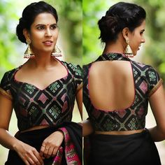 This Rangoli inspired black brocade blouse with a sweetheart neckline screams attention. Simplicity at its best, this is one blouse that…Gold Sequin And Sparkle Blouse For Party Wear Net Sarees If you like this post pl save it and tag your friends . Blouse Back Neck Designs, Stylish Blouse Design, Fancy Blouse Designs, Indian Blouse Designs, Saree Jacket Designs Latest, Brocade Blouse Designs, Brocade Blouses, Neckline Designs, Designer Blouse Patterns