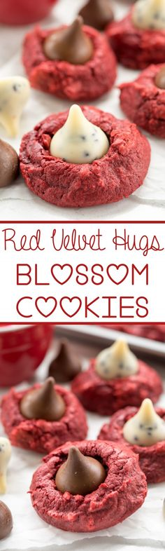 Red Velvet Hugs Blossom Cookies - this easy cookie recipe starts with a red velvet cake mix! Add a Hershey's Kiss and make them blossom cookies!